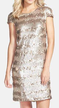 Nordstrom  Vera Wang Gold Paillette & Sequin Shift Dress-- CIVIL dress