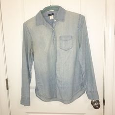 JCrew lighter chambray shirt Great condition J. Crew Tops Button Down Shirts