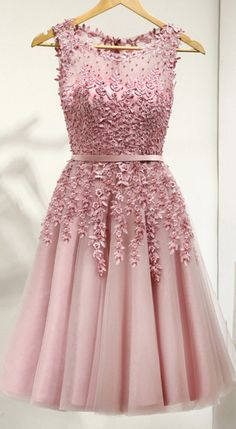 Pink Homecoming Dresses,Short Homecoming Dresses,Cute Dresses,Lace Beading Homecoming