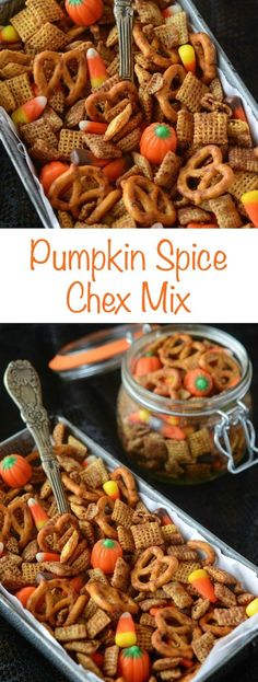 A festive Halloween Pumpkin Spice Chex Mix perfect for a party!