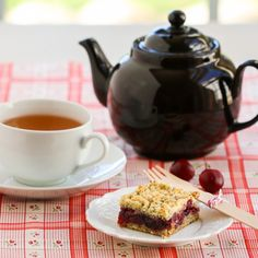 Earl Grey Cherry Bars | Thirsty for Tea - subbing out eggs... This looks too good not to figure out how! :P
