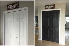 Painting closet doors black - Heather's Handmade Life