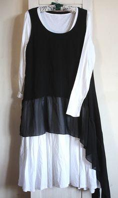 Black Asymmetrical Dress Top Tunic ruffle by GreenHouseGallery