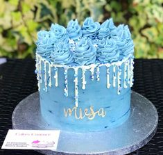 Blue buttercream cake with white chocolate drip, decorated with Baking Time Club 'Snowy Morning' Vegan and Gluten Free Cake Sprinkles Blue Drip Cake, Cake Design For Men, Blue Birthday Cakes, Chocolate Drip Cake, White Chocolate, Blue Cakes, Drip Cakes, Cakes For Boys, Delicious Chocolate