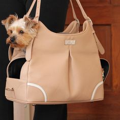 Madison Mia Michele Luxury Pet Carrier Bag in Mocha Pebble
