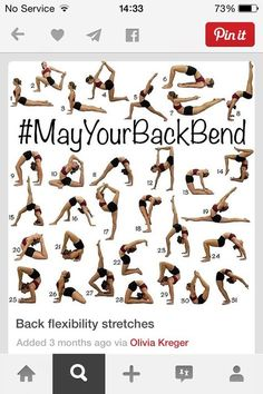 Stretches For Your Back! XHold all of those positions for 30 seconds to 1 minute and repeat on both sides for the ones you need to. If you repeat daily you will defiantly notice a difference within 4-5 days.