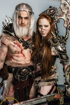 Male and Female Diablo 3 Barbarians cosplay BlizzCon 2013 Lightning Cosplay, Renaissance Festival Costumes, Action Poses, Barbarian, World Of Warcraft, Cosplay Costumes, Video Games, Wonder Woman, Geek
