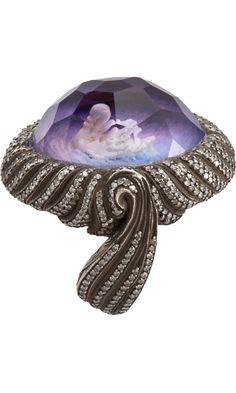 Sevan Bicakci Swan Carved Amethyst Ring