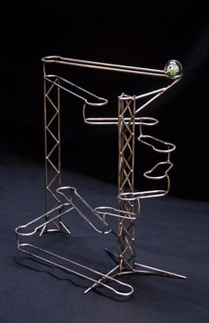 Stainless steel kinetic sculpture, rolling ball sculpture, hand-formed and… Rolling Ball Sculpture, Marble Run Sculpture, Geometric Sculpture, Marble Art, Marble Runs, Marble Tracks, Mobiles, Rube Goldberg Machine, Marble Machine