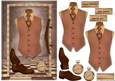 Male card Vest in Vintage Style on Craftsuprint designed by Marijke Kok - Male card in vintage style and color, for any occasion. - Now available for download!
