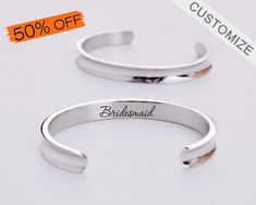 Engraved Cuff Bracelet Custom Initial Bracelet Name Bracelet Sister Bangle Graduation Girlfriend Gift Personalized Bridesmaid Bracelet