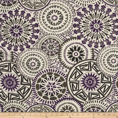 Rayon Jersey Knit Medallion Purple/Charcoal/Beige from @fabricdotcom  This jersey knit fabric has an ultra soft hand, a fluid drape and 40% stretch across the grain. This fabric is perfect for creating stylish tops, tanks, lounge wear, gathered skirts and flowing dresses with a lining.