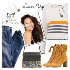 """""""Lace-Up"""" by tinayar ❤ liked on Polyvore featuring Chloé, Victoria's Secret, Atelier Maï Martin, Fall, jeans and laceup"""