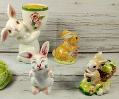 Lot of 4 Vintage Ceramic Bunny Rabbit Figurines Shaker Avon Candle Easter Japan