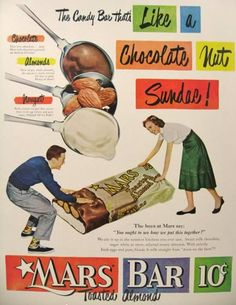 Retro 1950 Mars Bar Retro Ad - Original vintage magazine ad for the Mars Bar. Publication Year: 1950 Approximate Ad Size (in inches): 10 x Condition: Excellent Mars Candy Bar, Mars Bar, Retro Candy, Vintage Candy, Vintage Food, Retro Food, Vintage Signs, Vintage Bar, Vintage Stuff