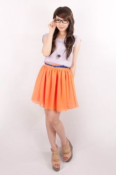 Chiffon Double layered skater skirt! this is so nice i like it in orange and peach