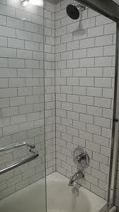 white subway tile grey grout - Google Search