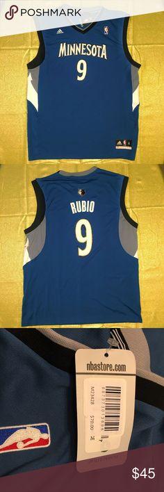 adidas NBA Minnesota Timberwolves Rubio Jersey Brand New with Tags.   Size: Men's XL $70 MSRP adidas Shirts Tank Tops