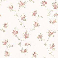 Floral Themes (G23246) - Galerie Wallpapers - A floral trailing design- shown here in off white with pink, lilac and green floral detailing. Other colourways are available. Paste the wall product. Please request a sample for a true colour match.