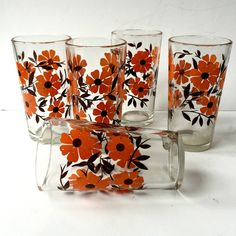 Set of Five Retro Mexican Drinking Glasses.  by GatewayHeirlooms