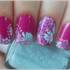 Turquoise & magenta Essie nails #floral