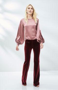 3e2a7f1e41a6 Main Image - Nili Lotan Loretta Silk Puff Sleeve Blouse Velvet Flare Pants