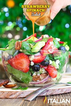 Best Ever Strawberry Spinach Salad will rock your world! This simple recipe is a celebration of summers bounty in the most spectacular salad you will ever eat. Fresh crisp spinach salad is taken to an Blueberry Salad, Spinach Strawberry Salad, Strawberry Banana, Fruit Salad, Strawberry Walnut Salad, Salad Bar, Soup And Salad, The Slow Roasted Italian, Spinach Salad Recipes