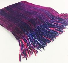 Woven Rayon Chenille Purple Scarf by Claire Perrault