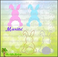 Floppy Ear Bunny Wide Monogram Base Easter Design Digital Clipart & Cut File Instant Download Jpeg Png SVG EPS DXF Formats - pinned by pin4etsy.com