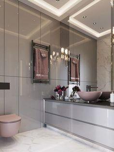Banheiro Rosa - Pink Bathroom Pink bathroom, rose gold bathroom, pink and gray bathroom, pink and wh Modern Bathroom Design, Bathroom Interior Design, Decor Interior Design, Dream Apartment, Apartment Design, Apartment Ideas, Bathroom Toilets, Bathroom Basin, Grey Bathrooms