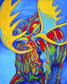 Large Moose Painting by Derrick Higgins - Large Moose Fine Art Prints and Posters for Sale