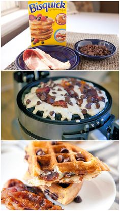 Chocolate-Bacon Waffles - I don't have a waffle maker, but gonna do this with regular pancakes :)