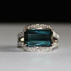Natural, Rare 8.50ct, Indicolite (Blue-Green) Tourmaline and .90ct Diamond Engagement/Wedding Ring, Appraisal Included by ladygemologist on Etsy