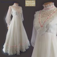Vtg 60s 70s Victorian ALFRED ANGELO by EDYTHE VINCENT Chiffon Wedding Dress S-M #AlfredAngeloOriginalDesignedbyEdytheVincent #VictorianStyleWeddingDress