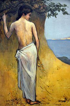 Puvis de Chavannes - Girl by the Sea at Neue Pinakothek Munich Germany Maurice Denis, Gustav Klimt, Odilon Redon, Earth Pigments, Art Gallery, Yellow Art, Pre Raphaelite, Am Meer, New Artists