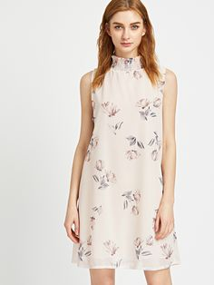 Vestido con estampado floral y espalda con abertura-(Sheinside)