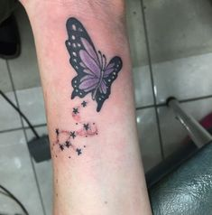 Purple & Black Butterfly With Star Dust On Wrist