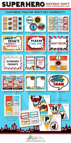INSTANT DOWNLOAD Birthday Superhero Party Printable by OwliePowlie, $29.00