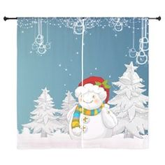 Sweet Christmas decorated curtain! Here is more... http://www.cafepress.com/ok_shop/11974655  #christmas #snowman # warm #kids #art #snow #landscape #tree #frosty #pillow #curtain #bedroom #Woven #creative