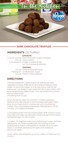 Learn how to make Dark Chocolate Truffles on this week's In the Kitchen with Kroger: http://youtu.be/UuZe6M7ba4s