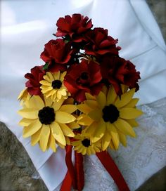 Red Roses and Black Eyed Susans  Paper by DragonflyExpression, $125.00