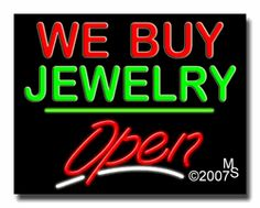 "We Buy Jewelry Open Neon Sign - Script Text - 24""x31""-ANS1500-5658-3g  31"" Wide x 24"" Tall x 3"" Deep  Sign is mounted on an unbreakable black or clear Lexan backing  Top and bottom protective sides  110 volt U.L. listed transformer fits into a standard outlet  Hanging hardware & chain included  6' Power cord with standard transformer  Includes 2nd transformer for independent OPEN section control  For indoor use only  1 Year Warranty on electrical components."