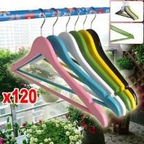 120 Pcs Bulk Lot Mixed Coloured Wooden Clothes Hangers - 120 Hangers - Natural Wood - Metal Neck