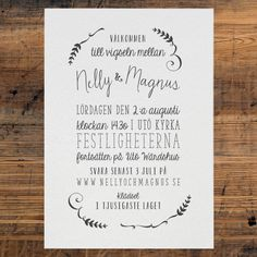 Wedding invite by Pretty Paper, Sweden.