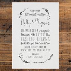 Wedding invite by Pretty Paper, Sweden.