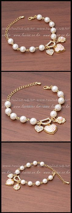 The new diamond peach heart flower pendant D letters pearl bracelet bracelet [br12] - $2.45 : Fashion jewelry promotion store,Supply all kinds of cheap fashion jewelry