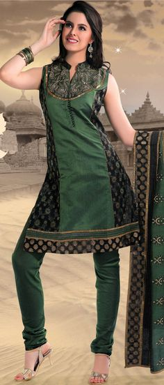 Green and Black Cotton Readymade Churidar Kameez