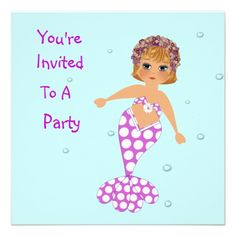 Cute Mermaid Party Invitations   Just the thing for any little girl these cute mermaid party invitations all ready for you to personalize with your details.