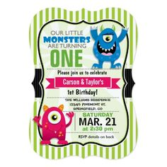 Twins Birthday Party Invitations Twin Monsters Birthday Party Card