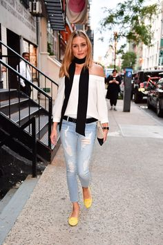 Daily Style Directory - Olivia Palermo in light blue jeans and an off-the-shoulder top. Click through to see who joins her in this week's best-dressed list